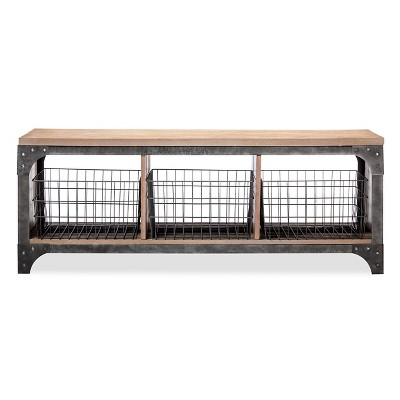 Franklin Entryway Bench with Baskets