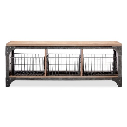 Franklin Entryway Bench with Baskets - image 1 of 3