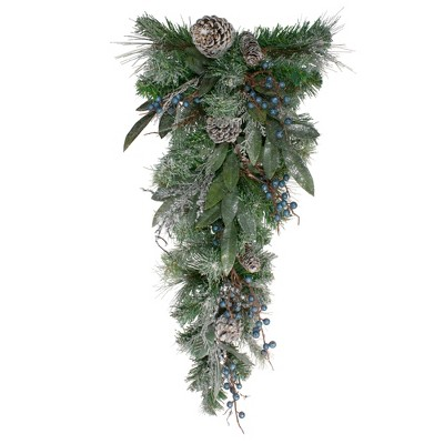 """Northlight 28"""" Mixed Pine and Blueberries Artificial Christmas Swag - Unlit"""
