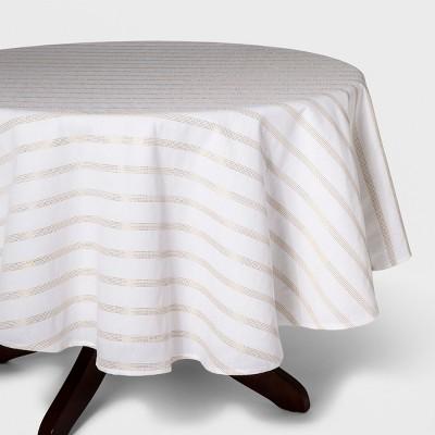 70 R Metallic Stripe Tablecloth White/Gold - Opalhouse™