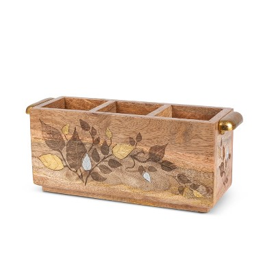GG Collection Mango Wood with Laser and Metal Inlay Leaf Design Flatware Caddy.