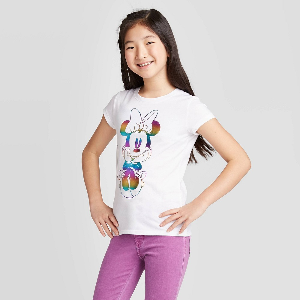 Girls Minnie Mouse Rainbow Graphic T-Shirt - White S Discounts
