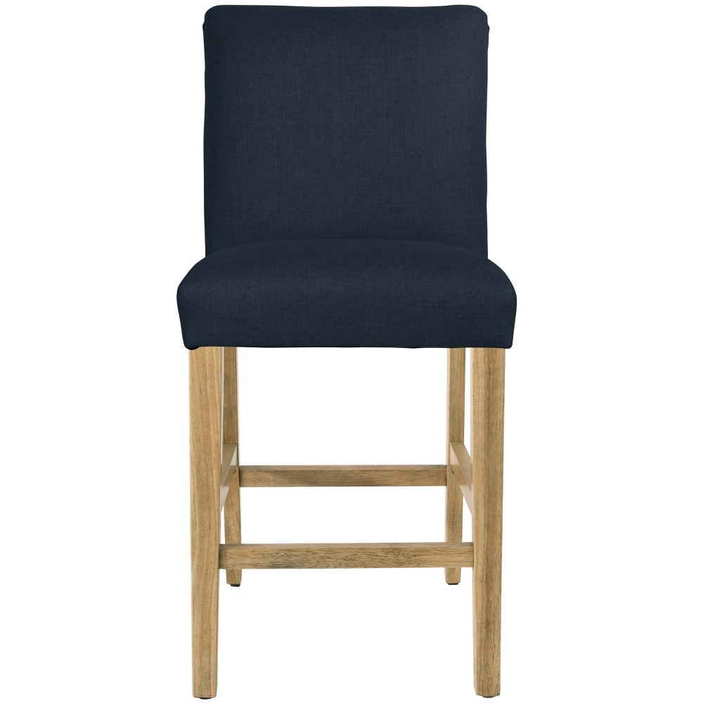 Parsons Counter Height Barstool Navy Linen with Natural Legs - Threshold Top