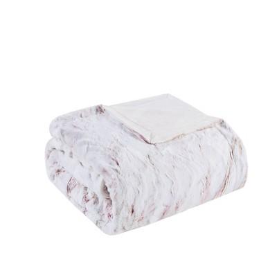 """60""""x70"""" Aina Oversized Faux Fur Throw Blanket Blush"""