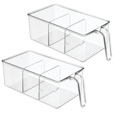 Mdesign Kitchen Pantry Cabinet Refrigerator Storage Bin Medium 2 Pack Clear Target