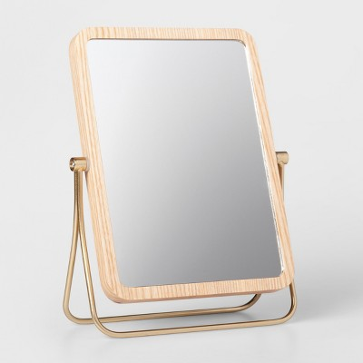 Wood and Soft Brass Vanity Mirror Natural - Threshold™