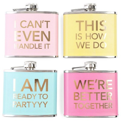 Juvale Pack of 4 Stainless Steel Flask, Hip Flasks for 5oz Liquor, 4 Trendy Colorful Designs for Wedding & Bachelorette Party Favors