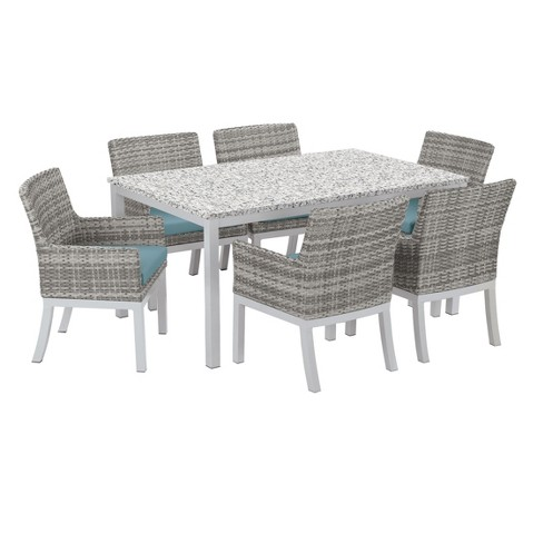 Travira 7pc Patio Dining Set With 63 X40 Table Powder Coated Aluminum Lite Core Ash Argento Wicker Ice Blue Cushion Oxford Garden