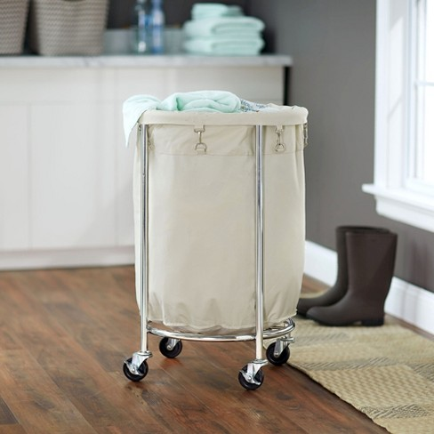 Household Essentials Round Laundry Hamper With Removable Bags White Target