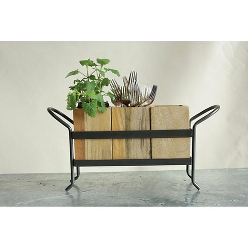 "Metal and Mango Wood 3 Section Organizer (9""H) - image 1 of 1"