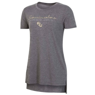 NCAA Florida State Seminoles Women's Short Sleeve Gray Drape T-Shirt