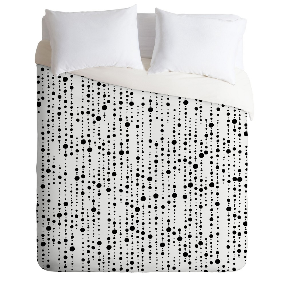 King Khristian A Howell Jump to Conclusions Dots Duvet Set Black - Deny Designs
