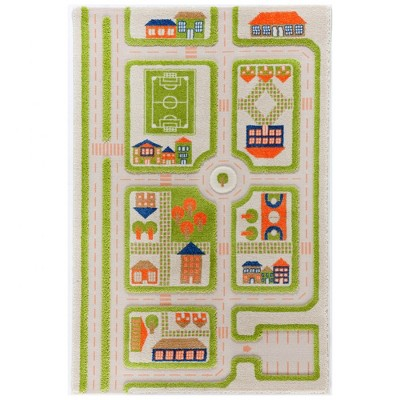 """3'4""""x5' Rectangle Indoor and Outdoor Tufted and Hooked Accent Rug Green - IVI"""