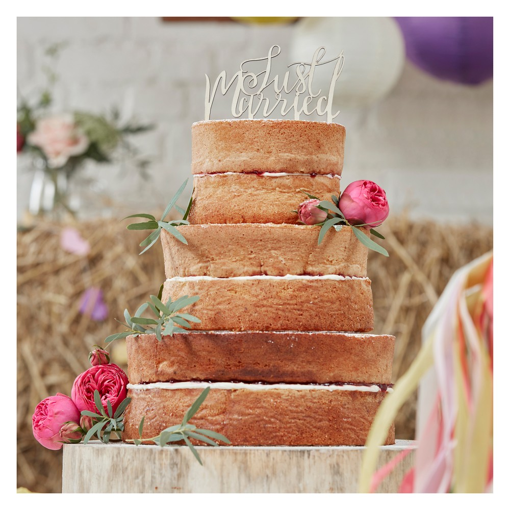"Image of """"""Just Married"""" Boho Wooden Cake Topper, Brown"""
