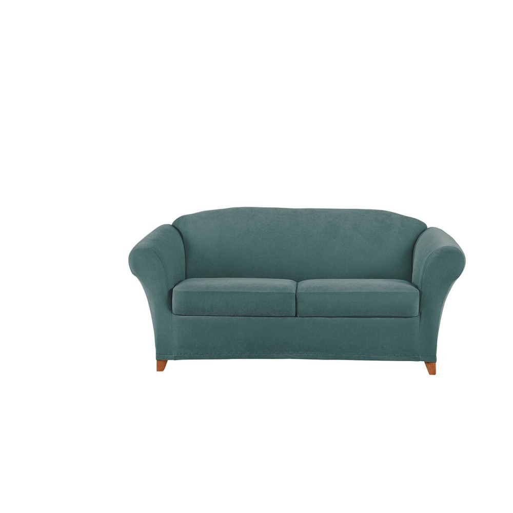 Image of 3pc Stretch Pique Loveseat Slipcover Pine - Sure Fit
