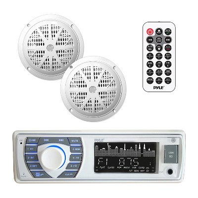 Pyle PLMRKT36WT 5.25 Inch Waterproof Bluetooth Marine Stereo Receiver and Speaker Pair Kit with Hands Free Calling and Wireless Streaming, White