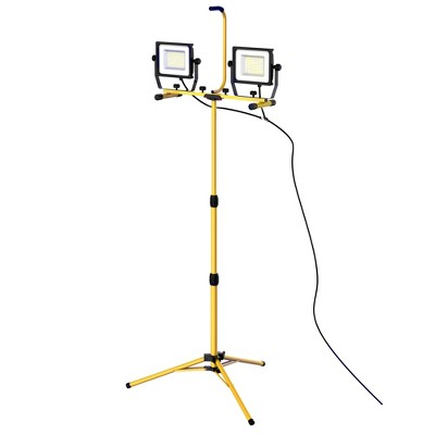 HOMCOM 14000 Lumen LED Work Lights Dual Head Weather Resistant with Tripod Stand