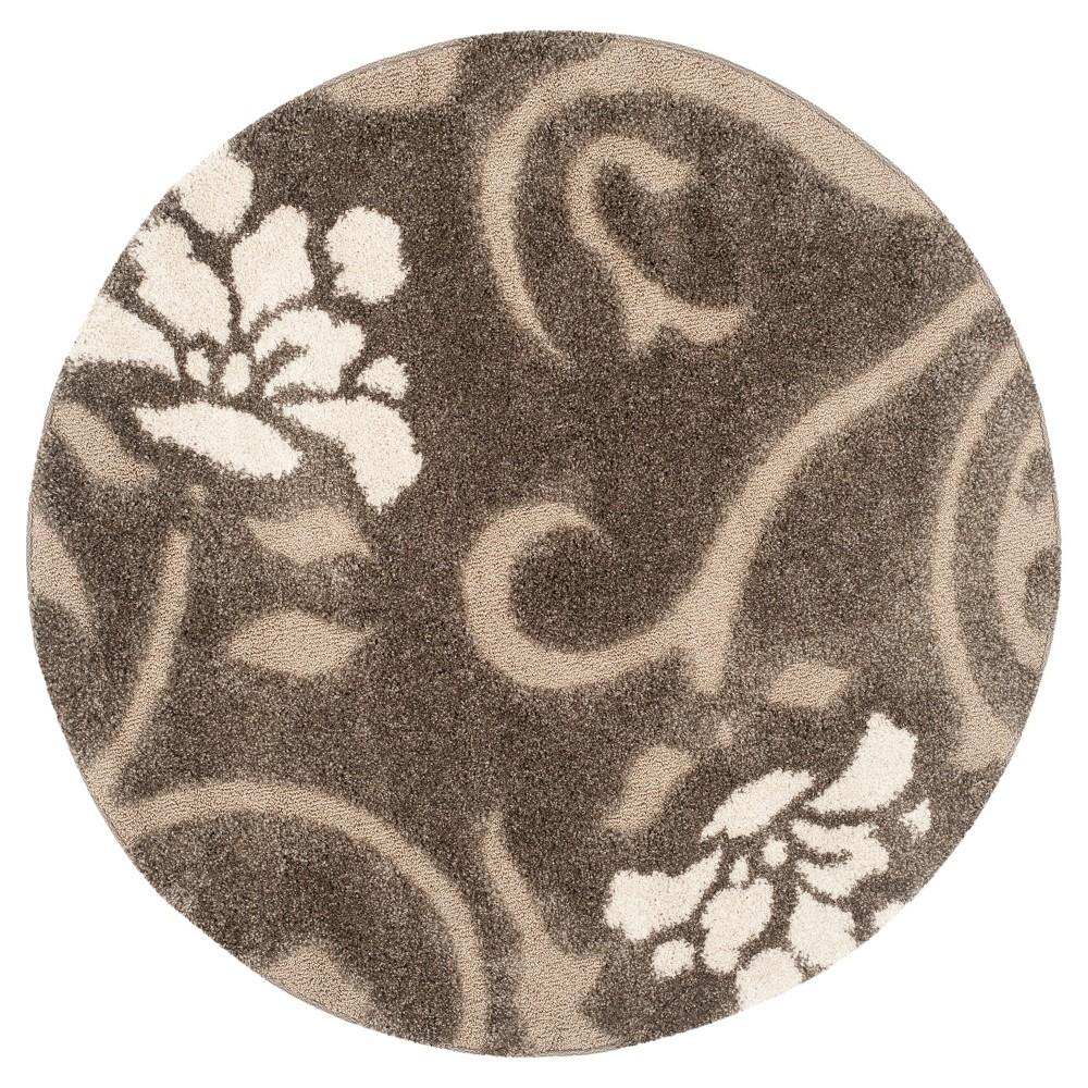Smoke/Beige (Grey/Beige) Botanical Shag/Flokati Loomed Round Accent Rug - (4' Round) - Safavieh