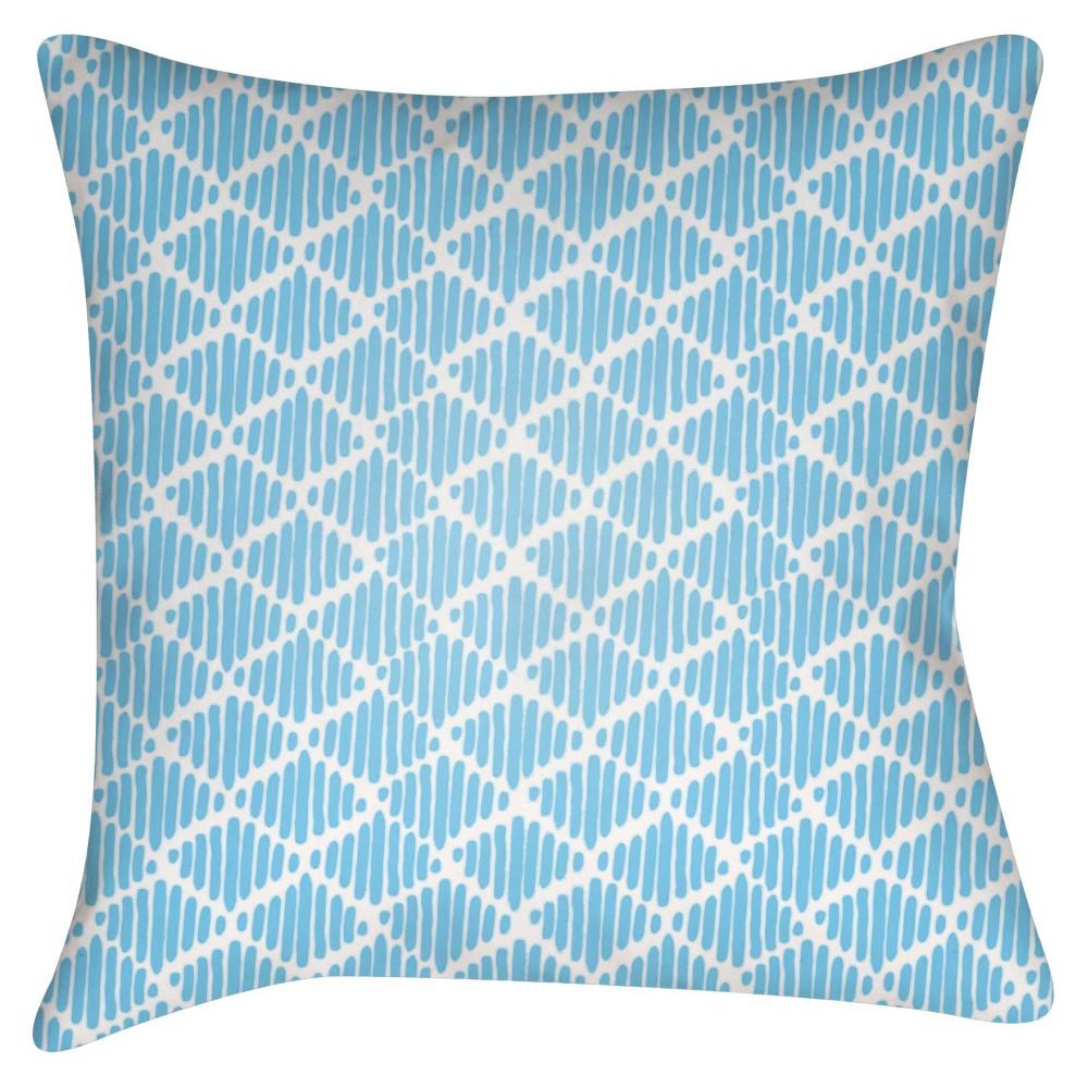 Light Blue Diamond Stripes Throw Pillow 18
