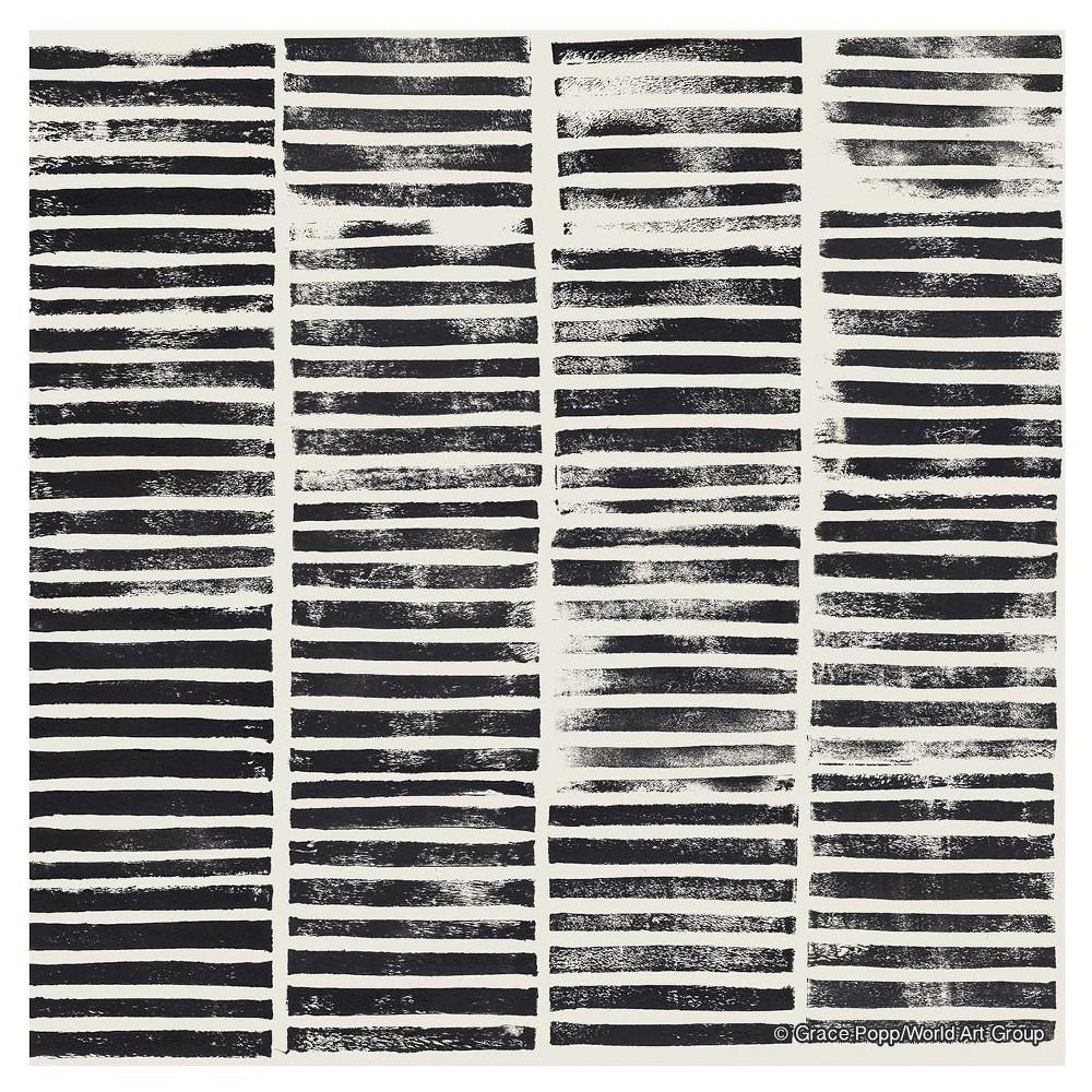 Image of Thirstystone Coasters Set of 4 - Stripe Block Print, Black