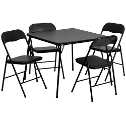 5pc Folding Square Table Set Black - Riverstone Furniture Collection