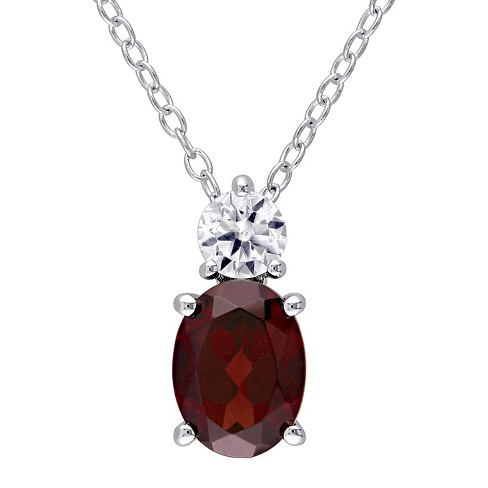 "1.4 CT. T.W. Oval Garnet and .32 CT. T.W. Created White Sapphire Pendant Necklace in Sterling Silver - (18"") - image 1 of 2"
