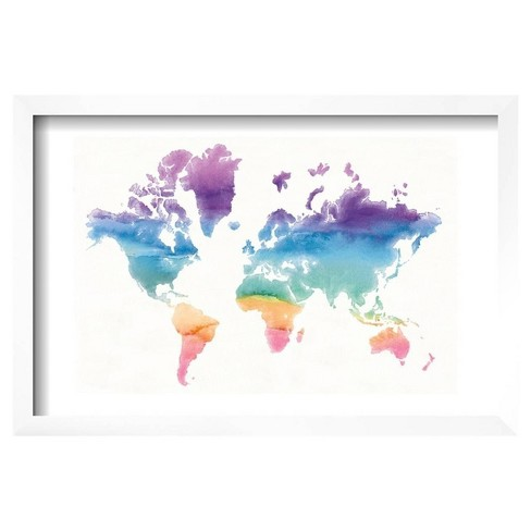 "Watercolor World by Mike Schick Framed Poster 19""x13"" - Art.Com - image 1 of 2"