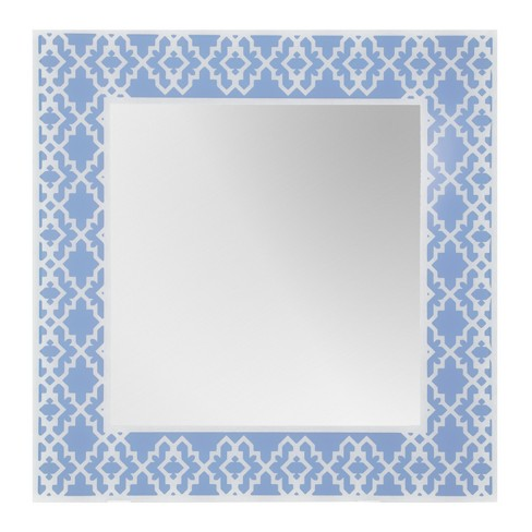 "Rectangular Beveled Frameless Wall Mirror with Silk Screened Periwinkle Geomoetric Pattern Embedded Border Blue 16"" X 24"" - Breeze Point - image 1 of 1"
