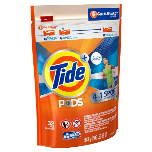 Tide Pods Plus Febreze Active Fresh Scented Sport Odor Defense Laundry - 32ct - image 1 of 2