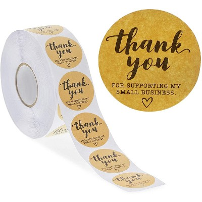 Stockroom Plus 1000-Pack Kraft Sticker Roll, Thank You for Supporting My Small Business (1.5 in)