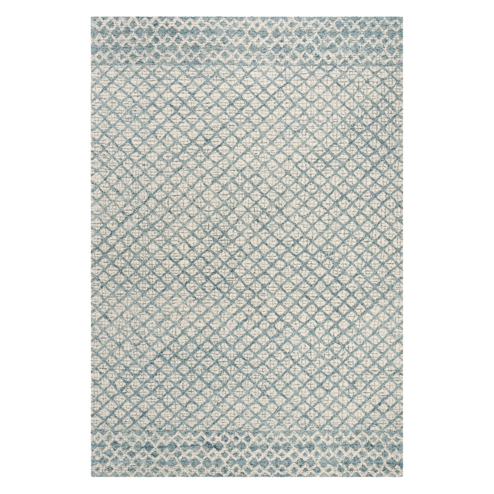 6'X9' Crosshatch Tufted Area Rug Blue/Ivory - Safavieh, Blue White