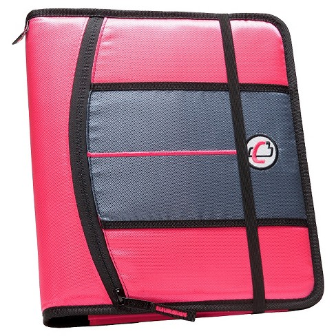 "Case•it 1"" 3 Ring Binder with Hard Cover 9 Pockets Pink - image 1 of 2"