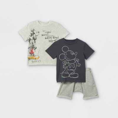 Toddler Boys' 3pk Mickey Mouse Short Sleeve French Terry Top and Bottom Set - Cream