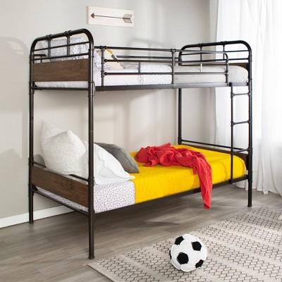 Twin Over Twin Metal and Wood Bunk Bed Black - Saracina Home