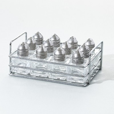 Lakeside Mini Salt and Pepper Shakers Set with Handled Carry Tray - Set of 12