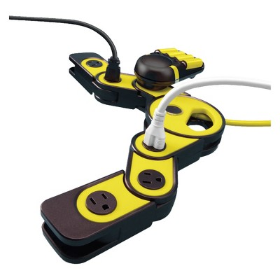 """Quirky 2""""x3"""" Pivot Power Surge Protector Yellow/Black"""