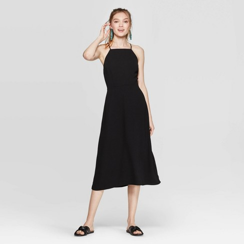 Women's Sleeveless Strappy Midi Dress - A New Day™ Black - image 1 of 3