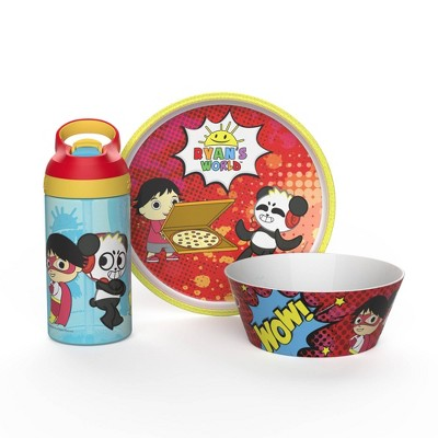 Ryan's World 3pc Melamine Dinnerware Set Red/Blue - Zak Designs