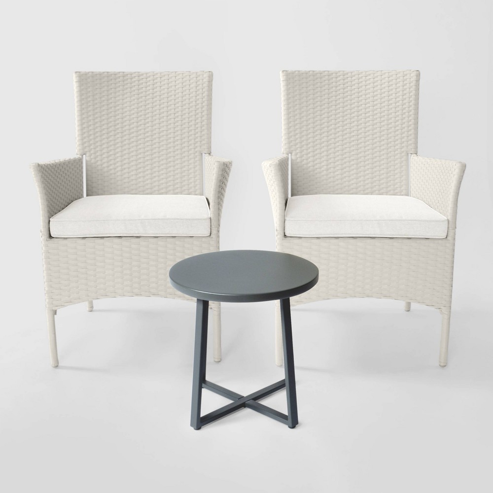 Cheriton 3pc Wicker Patio Chat Set - Gray/Linen - Threshold was $400.0 now $200.0 (50.0% off)