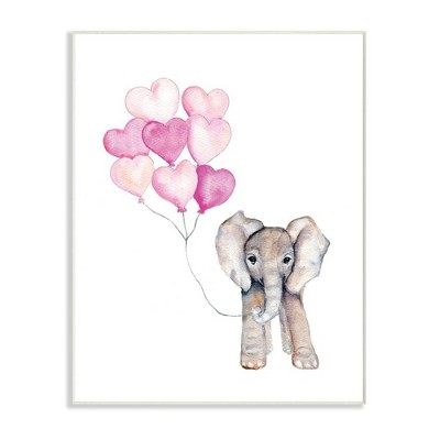 10 x0.5 x15  Baby Elephant with Pink Heart Balloons Wall Plaque Art - Stupell Industries