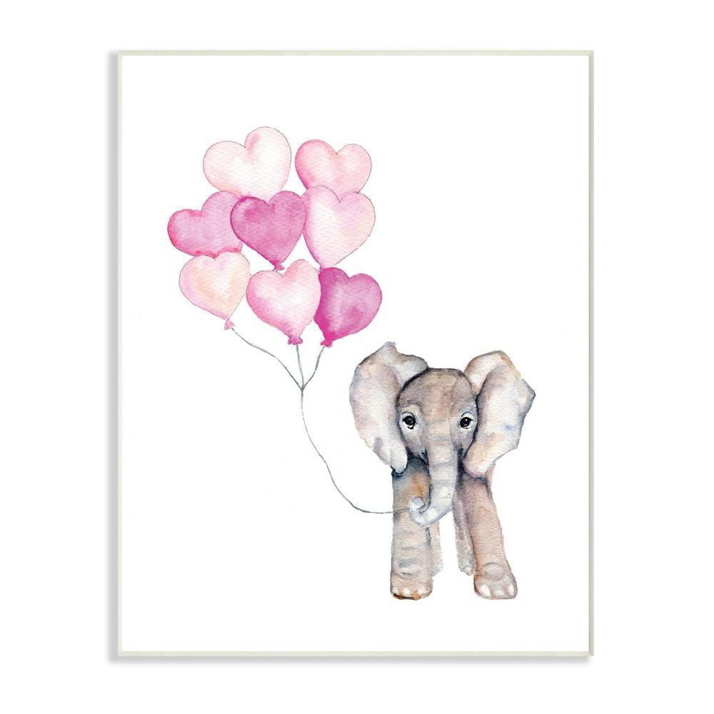 "Image of ""10""""x0.5""""x15"""" Baby Elephant with Pink Heart Balloons Wall Plaque Art - Stupell Industries"""
