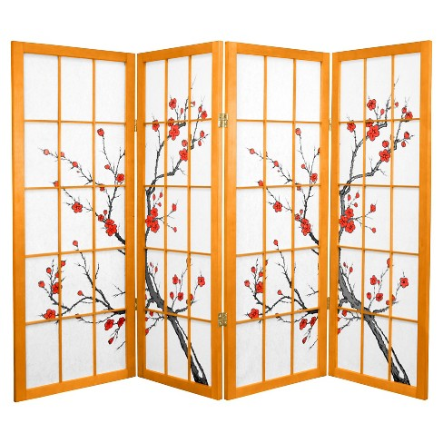 4 ft. Tall Cherry Blossom Shoji Screen - Honey (4 Panels) - image 1 of 1