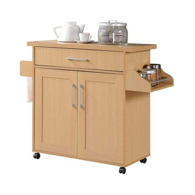 Hodedah Wheeled Kitchen Dining Room Island Cart with Large Spice Rack and Towel Holder, Beech
