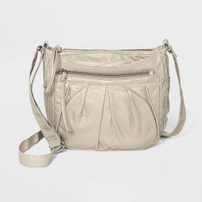 Bueno Zip Closure Mini Crossbody Bag - White