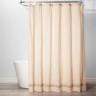Solid with Velvet Shower Curtain Chalk - Threshold™