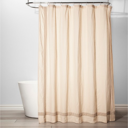 Solid With Velvet Shower Curtain Chalk