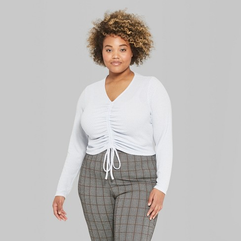 df7eb363422615 Women's Plus Size Long Size Waffle Gathered Tie Front Top - Wild Fable™  Blue 4X : Target