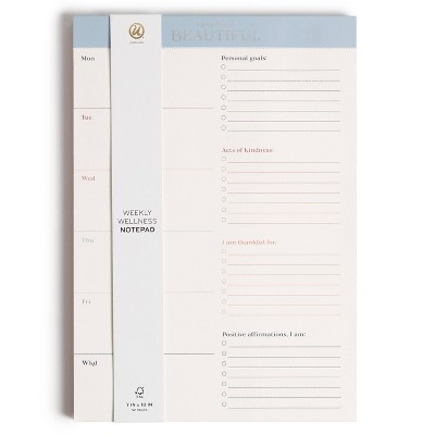 "7""x10"" Weekly Wellness Spiral Subject Notepad Coastal Comfort - U Brands"