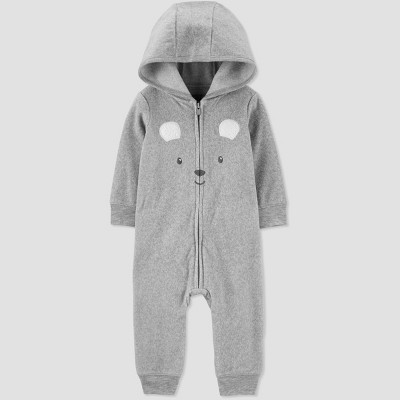 Baby Boys' Bear Fleece Hooded Romper - Just One You® made by carter's Gray 6M