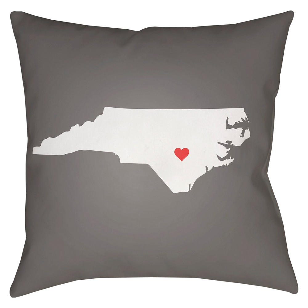 Gray State of the Heart North Carolina Throw Pillow 16